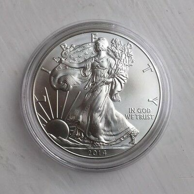 2014 USA,1OZ FINE SILVER EAGLE DOLLAR $1 COIN in capsule      BARGAIN PRICE