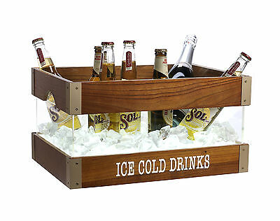 Large Retro LED Ice Bucket Light Up Champagne Wine Drinks Glowing Bar Cooler
