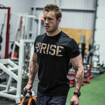 Men's Breathable Crossfit Slim Sport T-shirt Fitness Casual Cotton GYM Tee Tops