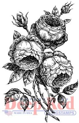 Deep Red Stamps Roses Pen and Ink Rubber Stamp
