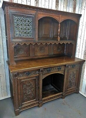 An Antique 18th Century and Later Oak Carved Dresser Sideboard ~Delivery Availab