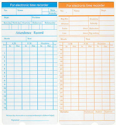 200 x Monthly Clocking In Time Cards type S-210/990M