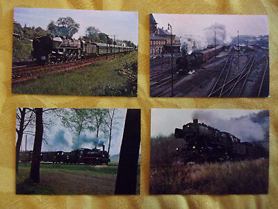 Lot de 4 Cartes Postales couleurs. CHEMIN DE FER, TRAINS, LOCOMOTIVES.