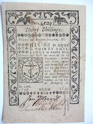 Rhode Island Colonial Currency May 1786 30s, Extremely Fine