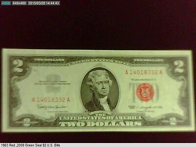1963 & 2009 U.S. $2 Red and Green Seal Bills (US10)