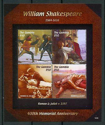 Gambia 2016 MNH William Shakespeare 400th Memorial Romeo & Juliet 4v M/S Stamps