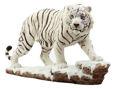 Siberian White Bengal Tiger Figurine 11 Inch Long Resin Lifelike Animal Decor
