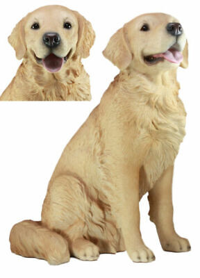 Large 21 Inch Tall Lifelike Golden Retriever Dog Figurine Resin Sculpture Statue