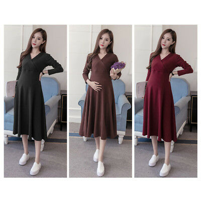 Pregnant Women cotton Spring Clothing Bow Dress with Belt Maternity Wear