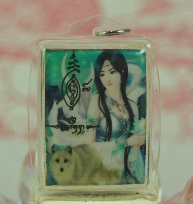 Nine 9 Tails Fox Chinese Lady Angel Love Lucky wealth Charm Thai Amulet KamPeng