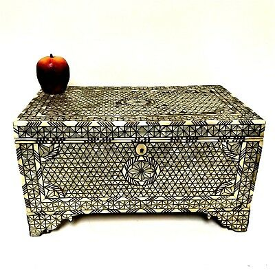 Large Antique Turkish Mother of Pearl Inlay Jewelry Valuable Box
