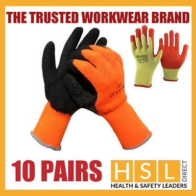 10 Pairs Hi Viz Thermal Winter Or Latex Gripper Builders Roofing Work Gloves