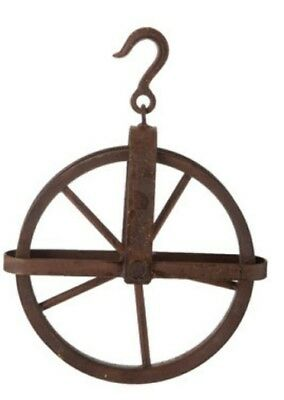 Rusted Metal Pulley Antique Vintage Industrial Steampunk XXL Decor