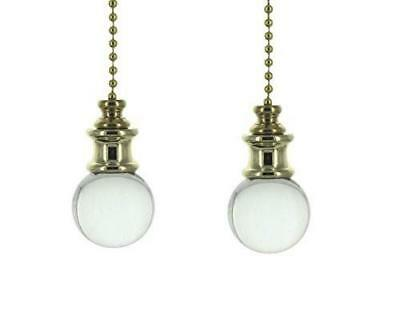Pair of Crystal Orb with Brass Fan Pulls