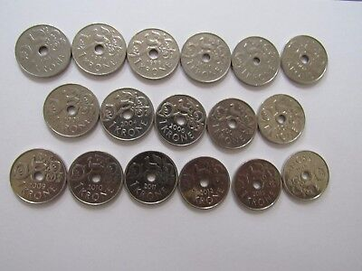 Lot of 17 Different Current Norway Coins - 1997 to 2016 - Circulated & BU