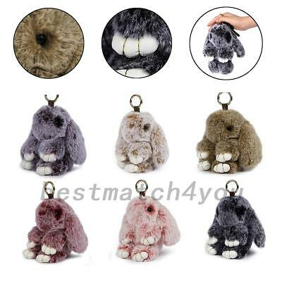 Adorable Fur Bunny Fluffy Rabbit Keyring Bag Charm Pendant Keychain Phone Car X1