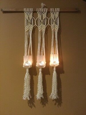 Macrame candles hanger or small pot plant hangers 60 cm 100% polypropylene cord