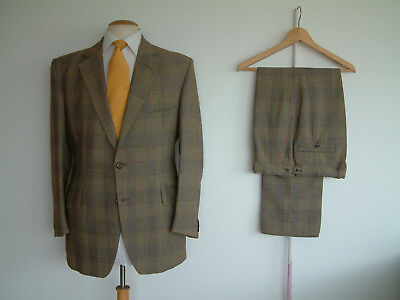 """VINTAGE BESPOKE SUIT..40"""" x 34""""..TAILOR MADE..LIME / PEACH CHECK..STRIKING..CHAP"""