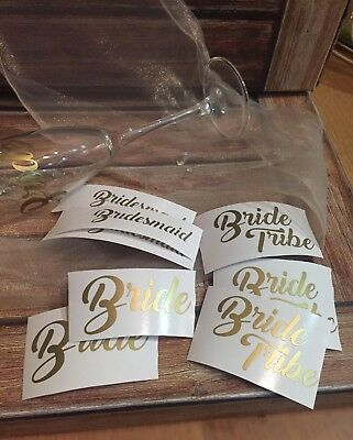 Wedding Role Stickers DIY Party Vinyl Wine Glass Decal Bridesmaid Bride Groom