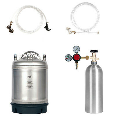 Keg Kit: 2.5 Gal Ball Lock Keg, 5 lb. CO2 Tank, Regulator & Parts - SHIPS FREE