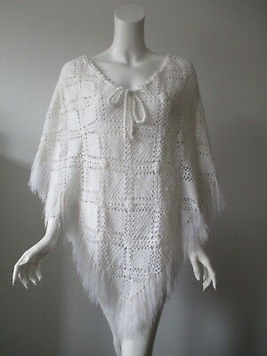 Vintage White Hand Made Crochet Knit Fringe Poncho One Size fits S M L