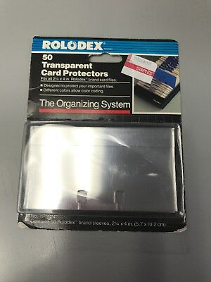 """50 Clear Rolodex Transparent Card Protectors 2 1/4 X 4"""" TPB24 NEW OLD STOCK"""
