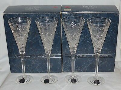 set 4 as new BOXED STUART CRYSTAL BEACONSFIELD CHAMPAGNE FLUTES