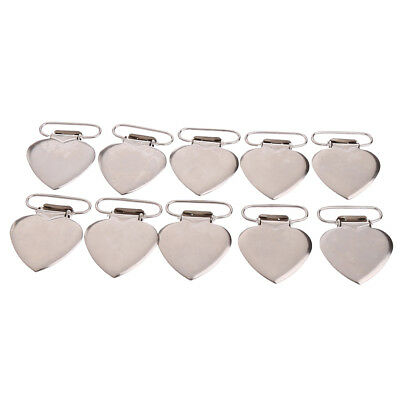 10Pcs Heart Shape Insert Pacifier Metal Suspender Clips Baby Pacifier Holders