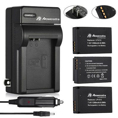 LP-E12 Battery For Canon EOS M, EOS 100D, Rebel SL1 Camera + Car / Wall Charger