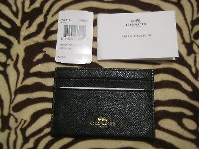 NWT Womens Coach Leather Business & Credit Card Holder Wallet $65 Black