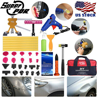 30pc PDR Paintless Dent Repair Removal Tools Puller Bridge Tap Down Glue Gun Set