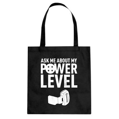 Tote Ask Me About My Power Level Canvas Shopping Bag #3005