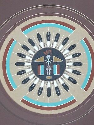 Vintage Navajo, Native American sand painting Sun and Eagle Signed T. Clark