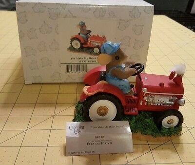 Charming Tails You Make My Heart Putter 84/140 Mouse on Tractor Fitz and Floyd