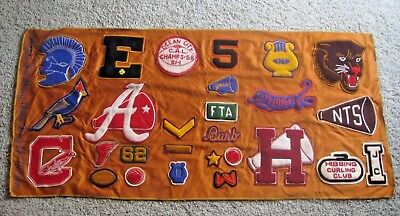 Rare Vintage Hibbing Minnesota Advertising Sports Patches Sign Blanket Curling +