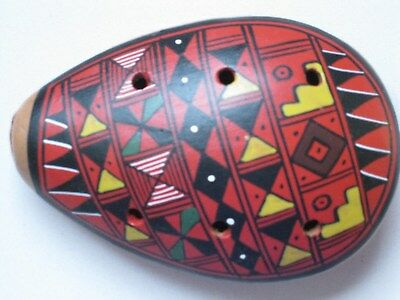 Vintage Peruvian Ocarina Handmade Clay Ceramic Fired Flute Whistle FREE POST