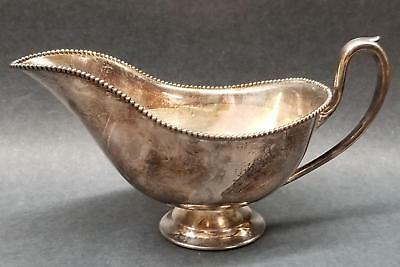 """Antique Silverplate Sauce or Gravy Boat with Beaded Trim 8"""" Long Pedestal Base"""
