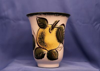 Sascha Brastoff Pottery Vase Decorated with Leaves, Fruit and Trimmed in Gold