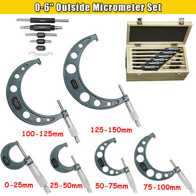 """0-150mm 0.01mm/0.0004"""" Precision Carbide Outside Micrometer Set Machinist Tool"""
