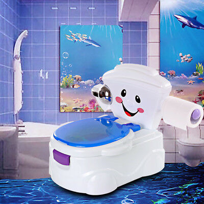 2 in 1 Baby Toilet Trainer Child Toddler Kid Music Potty Training Seat Fun Chair