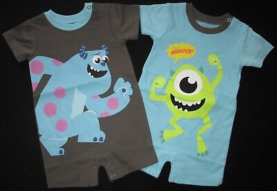 Baby Boys Romper 2 Set Disney Monsters Inc Bodysuit Outfit Licensed Brown NEW 0