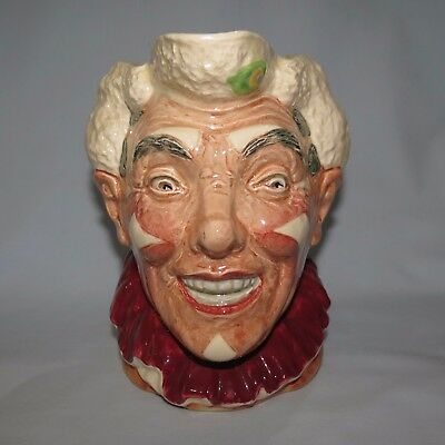 old RARE ROYAL DOULTON white haired CLOWN LARGE SIZE CHARACTER JUG D6322