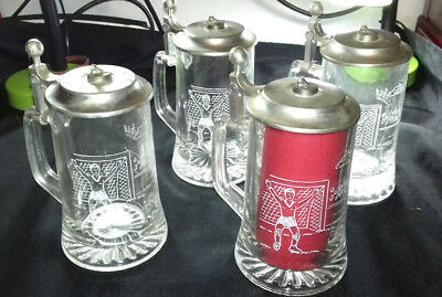 LOT 4 GROSSES CHOPES A BIERE METAL ET VERRE ♦ GRAVEES SCENE FOOTBALL st valentin