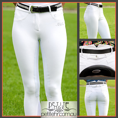 White breeches, full suede seat, high waist, silver stitching - sizes 4, 6, 8