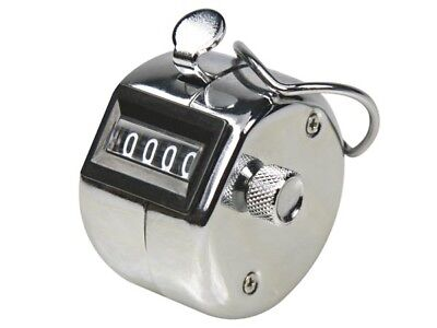 Hand Held Counter Tally Clicker Chrome 4 Digit Palm Golf Counting Steel UK Stock
