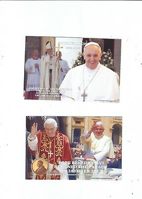 2 Postcards  Papal   Popes Benedict  Xv1 Resigns  Pope Francis   The 266Th Pope