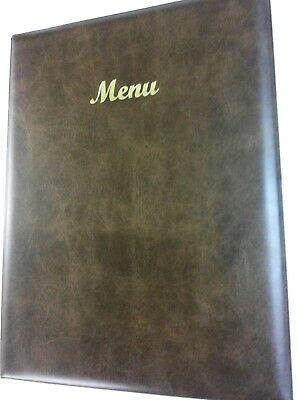 QTY 25 -A4 MENU HOLDER/COVER IN BROWN LEATHER LOOK PVC - CLASSIC LOOK + 4 a4 poc