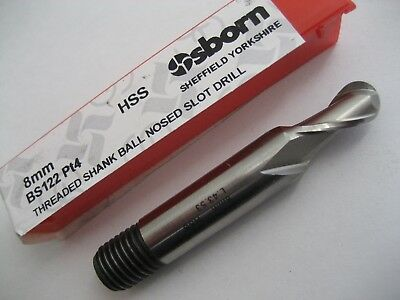 8mm HSS 2 FLUTED BALL NOSED SLOT DRILL MILL OSBORN / EUROPA TOOL 83320315  #P249