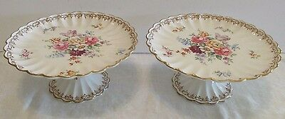 Pr England's Bouquet COMPOTES Crown Staffordshire Artist Signed Fluted Gold Trim