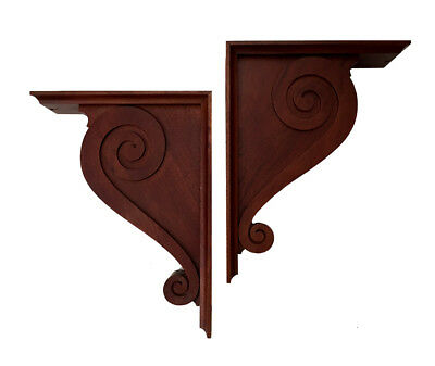 Pair Classic Wood Scroll Corbels - Hardwood Scroll Wood Corbels